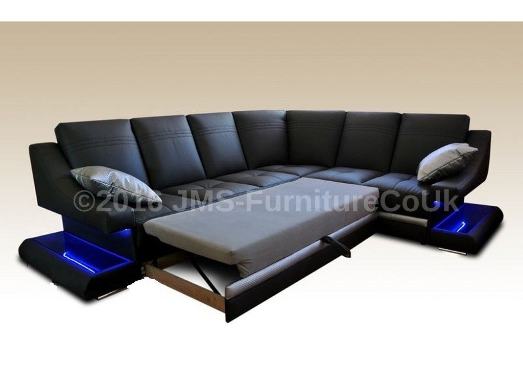 corner sofa bed virage with led lighting fast delivery ebay. Black Bedroom Furniture Sets. Home Design Ideas